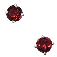 Sterling Silver Post Earrings- Round cut Garnet