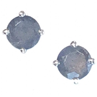 Sterling Silver Post Earrings- Round cut Labradorite