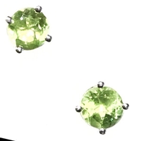 Sterling Silver Post Earrings- Round cut Peridot