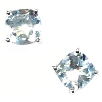 Sterling Silver Post Earrings- Cushion cut Blue Topaz