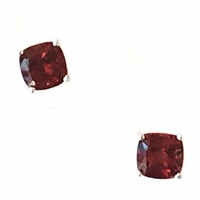 Sterling Silver Post Earrings- Cushion cut Garnet