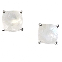 Sterling Silver Post Earrings- Cushion cut Moonstone