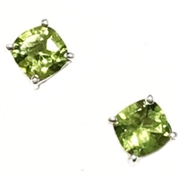 Sterling Silver Post Earrings- Cushion cut Peridot