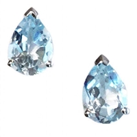 Sterling Silver Post Earrings- Pear cut Blue Topaz