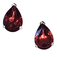 Sterling Silver Post Earrings- Pear cut Garnet