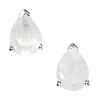 Sterling Silver Post Earrings- Pear cut Moonstone
