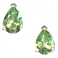 Sterling Silver Post Earrings- Pear cut Peridot