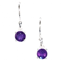 Sterling Silver Dangle Earrings- Round cut Amethyst