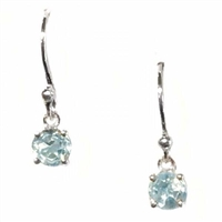 Sterling Silver Dangle Earrings- Round cut Blue Topaz