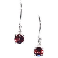 Sterling Silver Dangle Earrings- Round cut Garnet
