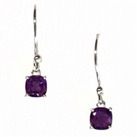 Sterling Silver Dangle Earrings- Cushion cut Amethyst