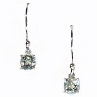 Sterling Silver Dangle Earrings- Cushion cut Blue Topaz