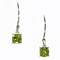 Sterling Silver Dangle Earrings- Cushion cut Peridot