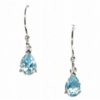 Sterling Silver Dangle Earrings- Pear cut Blue Topaz