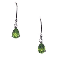 Sterling Silver Dangle Earrings- Pear cut Peridot