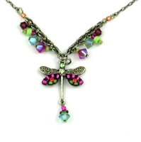 Firefly Necklace-Dragonfly Simple Small Necklace with Dangles-Hot Pink