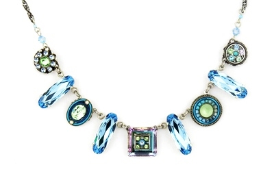 murrina necklace papaya s w murano pendant wpastel blue antica glass light jewelry lyst beads women