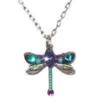 Firefly Dragonfly Pendant with Crystals- Teal