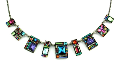 Firefly Necklace-Geometric Large Square-Multi Color
