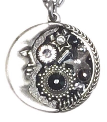 Firefly Necklace- Midnight Moon Pendant- Black & White