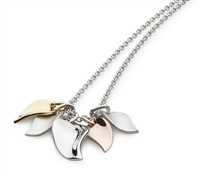 "Three Tone ""Cluster Leaf"" Necklace"