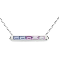"Sterling Silver Bar Necklace- ""Manhattan"" Amethyst & Iolite Ombre"