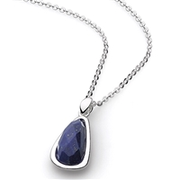"Sterling Silver Pendant -""Pebble"" Faceted Lapis"