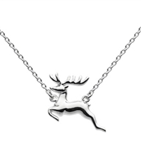 "Sterling Silver ""Leaping Deer"" Necklace"