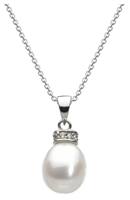Sterling Silver Pendant- Freshwater Pearl with Cubic Zirconia