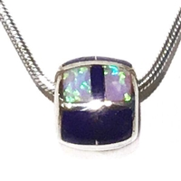 Sterling Silver Pendant/Necklace- Lapis & Opal Inlay