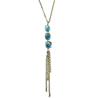Long Apatite Necklace- Triple Stone with Tassel