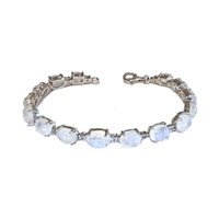 Sterling Silver Bracelet- Rainbow Moonstone & Tanzanite