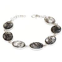 Sterling Silver Bracelet- Tourmalinated Quartz