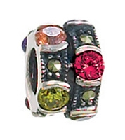 Multi Color Crystals & Marcasite Bead