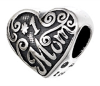 """#1 Mom"" Heart Bead"