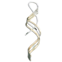 "Sterling Silver & Gold Fill ""3 Strand Spiral"" Earrings"