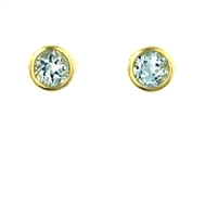 14k Gold Post Earrings- Aquamarine