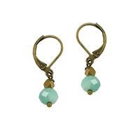 "Amazonite Leverback Earrings- ""Jot of Blue"""