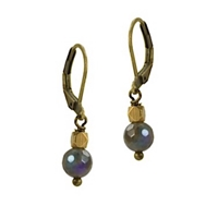"Labradorite Leverback Earrings- ""Still Grey"""