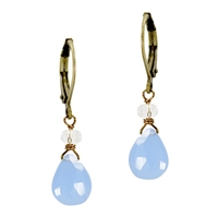 Blue Chalcedony Leverback Earrings- Composure