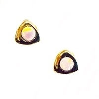 14k Gold Post Earrings -Precious White Opal
