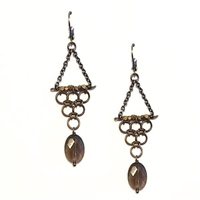 "Smoky Quartz Dangle  Earrings-""Triptych 2"""