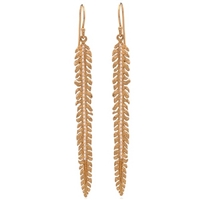 "22k Gold Plated Dangle Earrings- ""Scale Feather"""