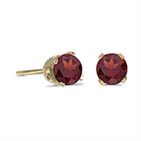 14k Gold Garnet Post Earrings--January Birthstone