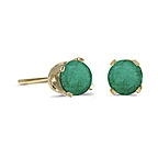 14k Gold Emerald Post Earrings--May Birthstone