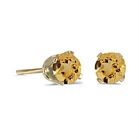 14k Gold Citrine Post Earrings--Substitute November Birthstone