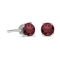 14k White Gold Garnet Post Earrings--January Birthstone