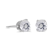14k White Gold White Topaz Post Earrings--Substitute April Birthstone