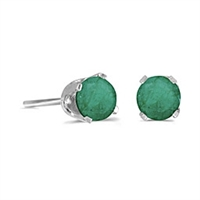 14k White Gold Emerald Post Earrings--May Birthstone