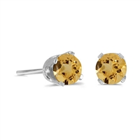 14k White Gold Citrine Post Earrings--Substitute November Birthstone